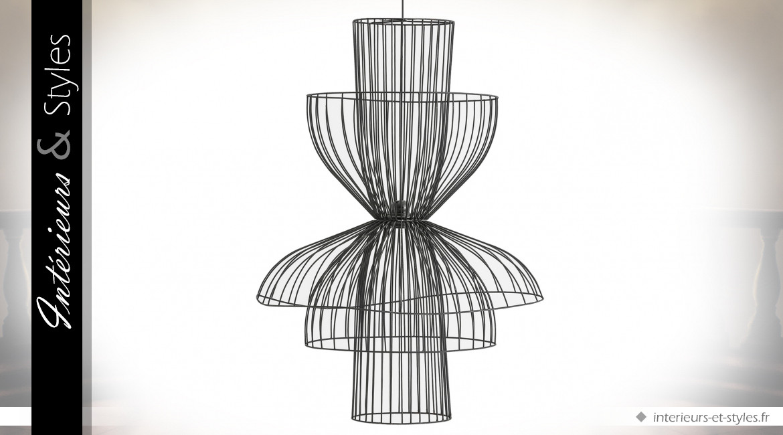 Suspension design wireframe multiforme coloris noir 86 cm