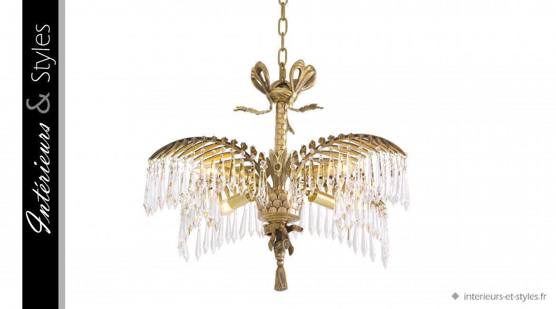 Lustre Hildebrandt L signé Eichholtz, ambiance Art Déco, avec pampilles de verre cristalin, 4 feux