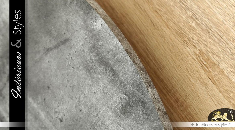 Table basse design métal et bois à deux plateaux circulaires