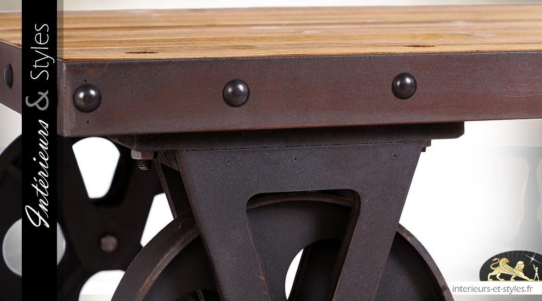 Table basse wagonnet bois et métal style industriel 120 x 70 cm
