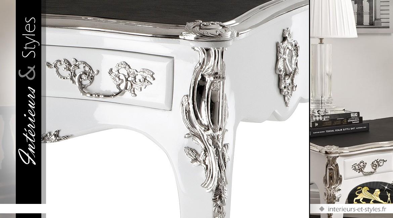 Bureau de style Louis XV bois massif fait main blanc et argent