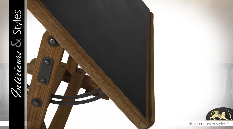 Table d architecte orientable en sapin et métal plateau noir