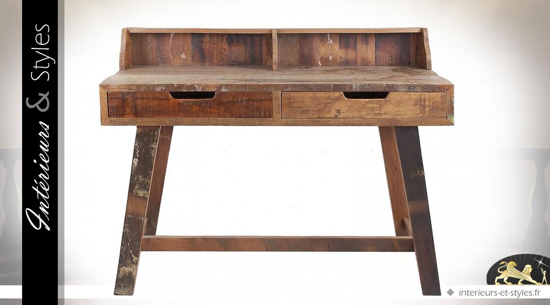 Bureau établi en manguier et sésame aspect rustique et ancien