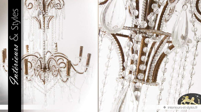 Grand lustre à pampilles finition métal vieilli 8 feux lumineux