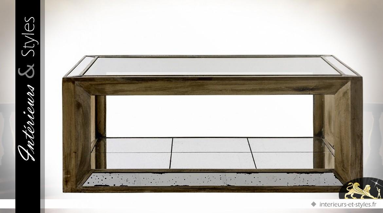 Table basse avec plateau en verre et habillage miroirs for Verre et miroir