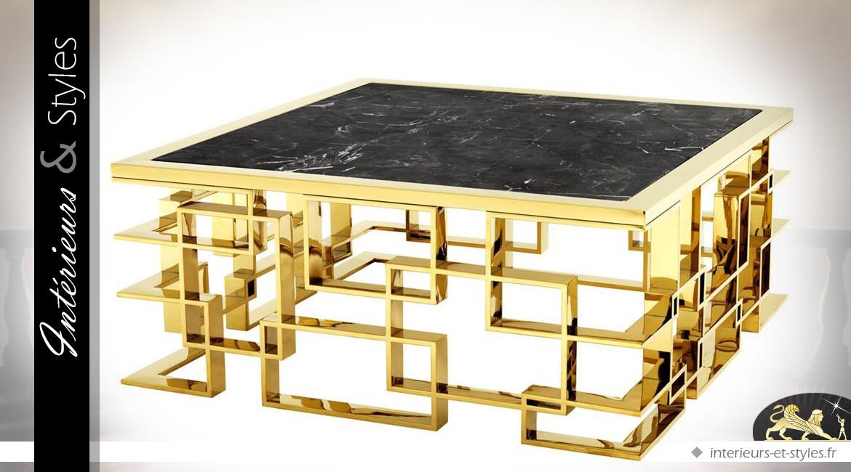 Table basse design en métal doré et marbre noir