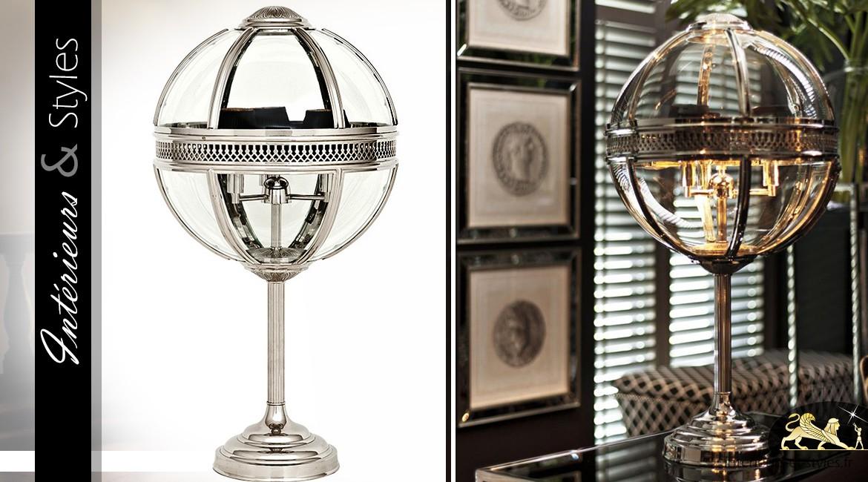 Grande et luxueuse lampe sphérique en nickel argenté et poli 85,3 cm