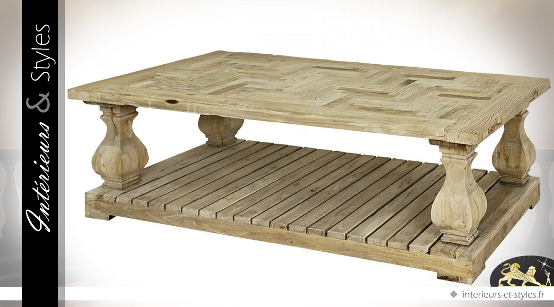 Table Basse Rustique En Acacia Massif Patine Blanc Antique