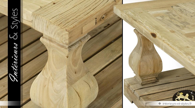 table basse rustique en orme massif avec pi tement en. Black Bedroom Furniture Sets. Home Design Ideas