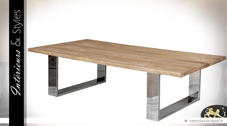 19215 table basse table basse design en orme recycle massif et metal chrome