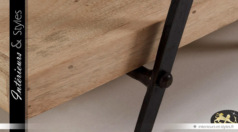 Meuble TV manguier et métal style design et indus en 160 cm