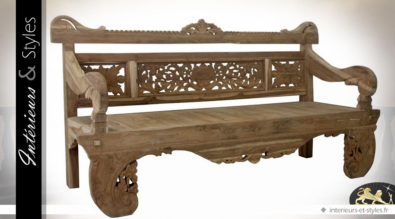 Grand banc de style oriental en teck massif sculpté à la main ...