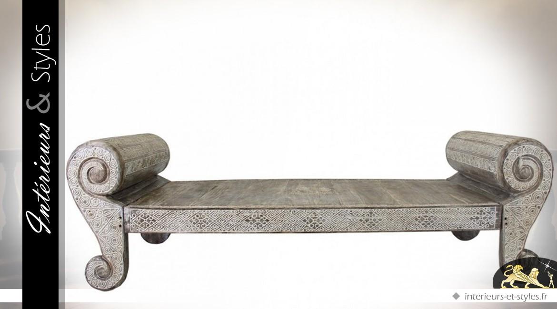 Canapé lit de jour de style oriental en mindi massif 260 cm