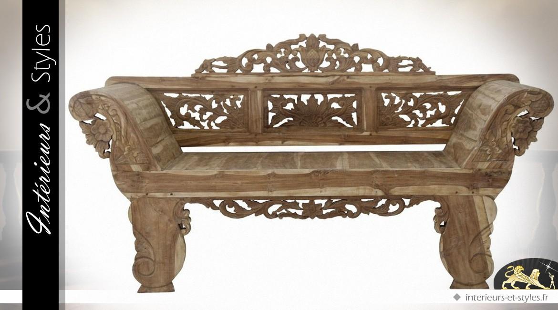 Banc de style oriental en teck sculpté à la main 175 cm | Intérieurs ...