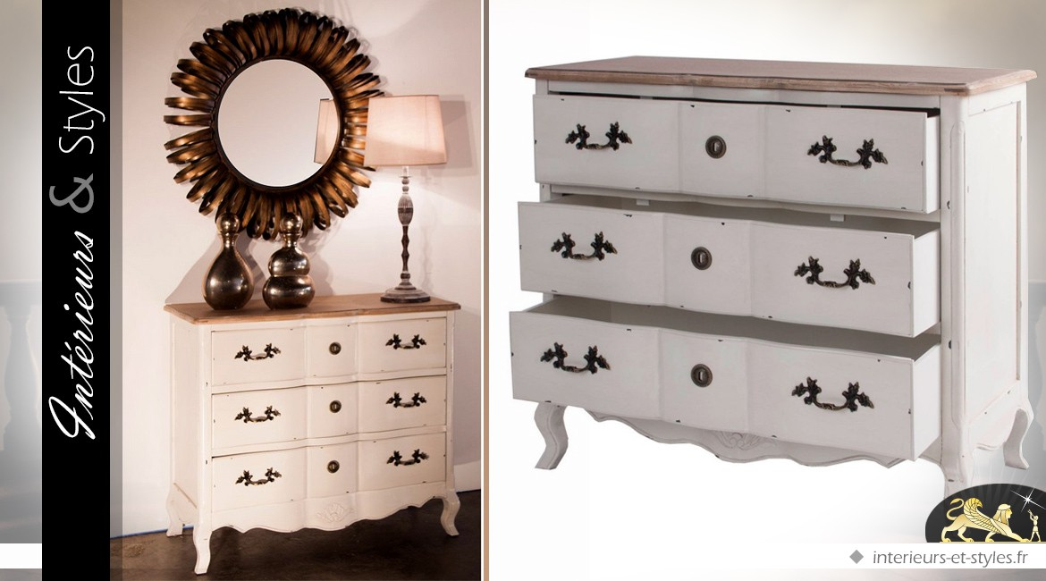 commode blanche shabby chic 3 tiroirs en paulownia int rieurs styles. Black Bedroom Furniture Sets. Home Design Ideas