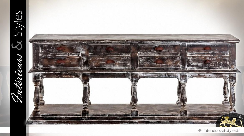 Grande console noire de style ancien à 8 tiroirs noir antique