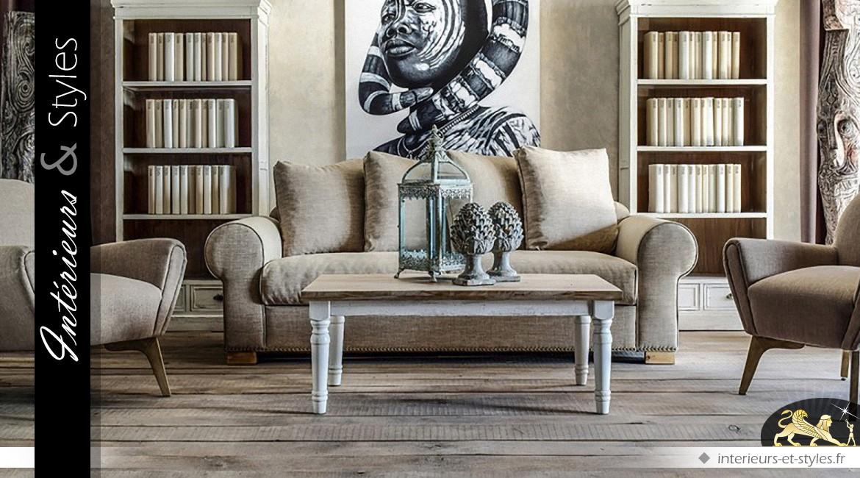 Canapé 3 places recouvert toile grise avec dossier en coussins