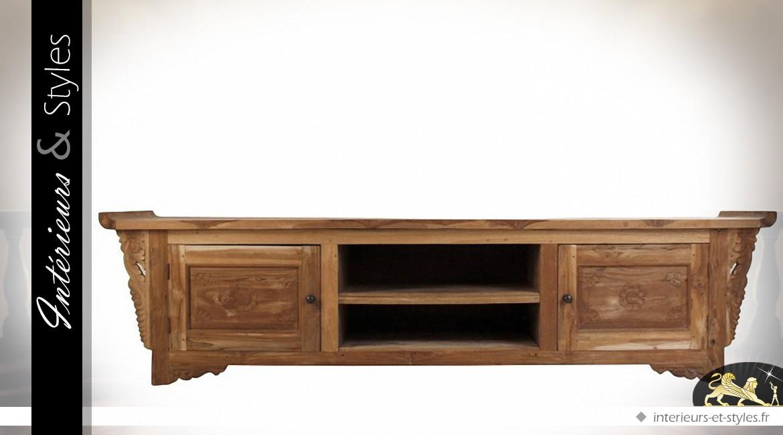meuble tv rustique en teck massif style oriental