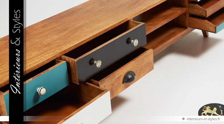 meuble tv moderne et multicolore en manguier 7 tiroirs. Black Bedroom Furniture Sets. Home Design Ideas
