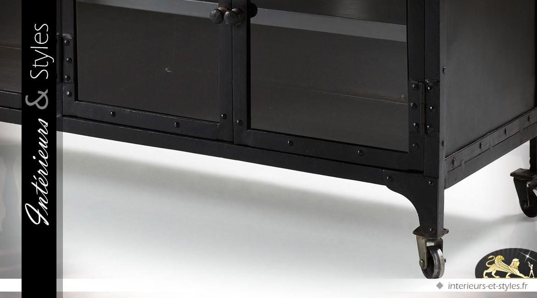 Meuble Tv De Style Industriel En Metal Noir Et Verre Interieurs