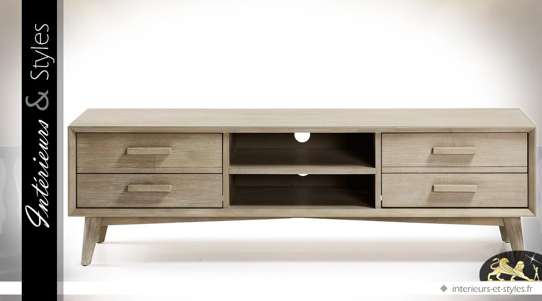 Meuble TV en acacia massif 4 tiroirs fini gris clair