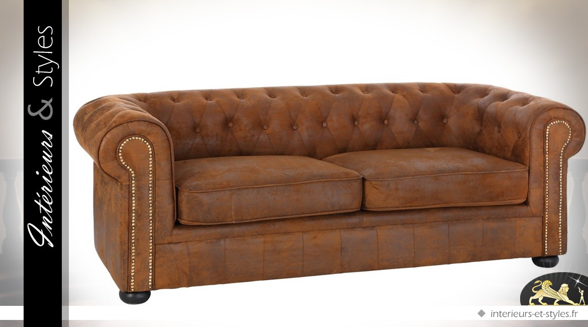 Canapé 3 places Chesterfield microfibre finition cuir marron vieilli