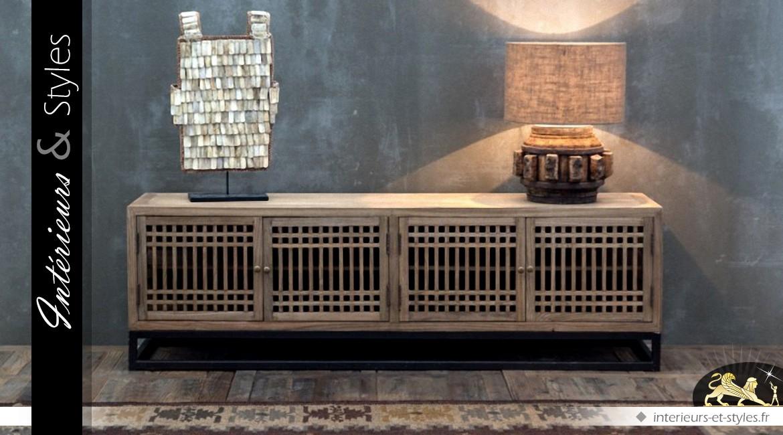Meuble Tv De Style Exotique En Orme Massif Interieurs Styles