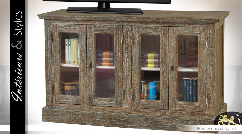 Meuble TV de style brocante en mindi à 4 portes vitrées