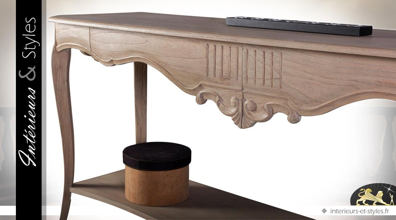 Grande console de style classique à deux plateaux patine bistre