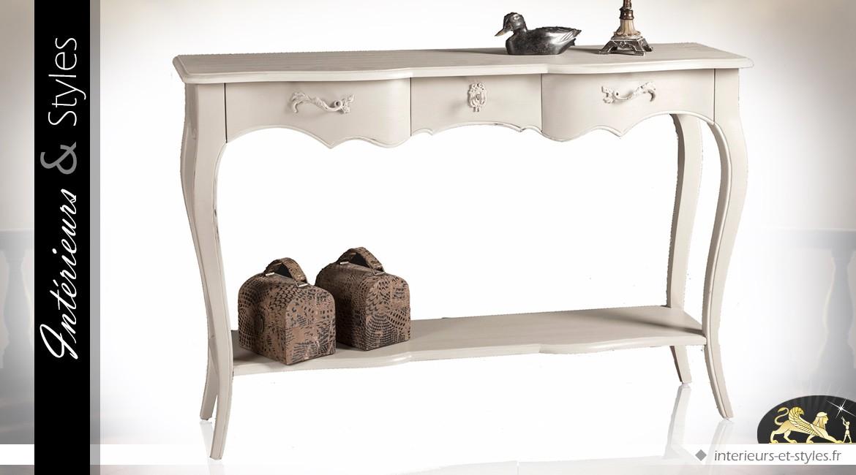 Console de style classique patine ivoire avec 2 plateaux et 3 tiroirs