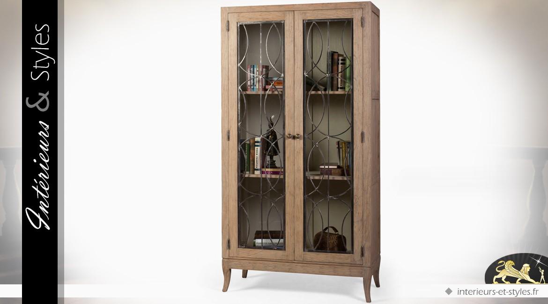 Vitrine à deux portes vitrées de style rétro et rustique en bois et métal