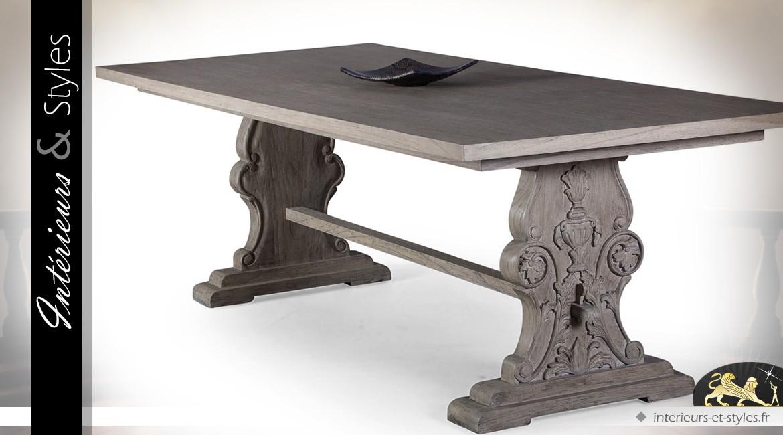 Table salle à manger bois massif de mindi finition chêne vieilli ...