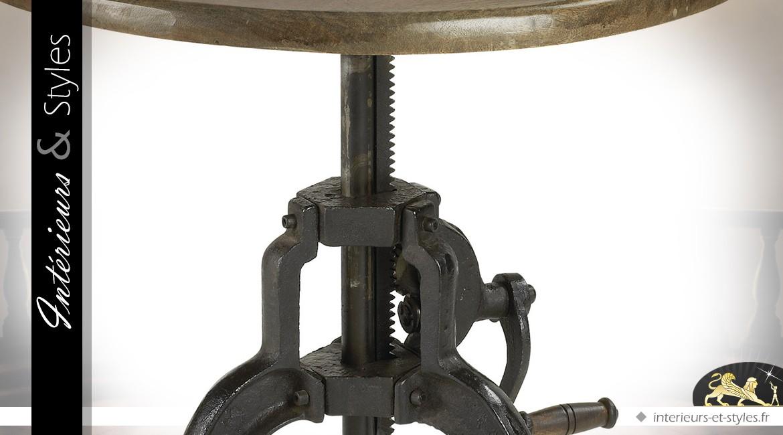 table ronde de style industriel hauteur de plateau. Black Bedroom Furniture Sets. Home Design Ideas