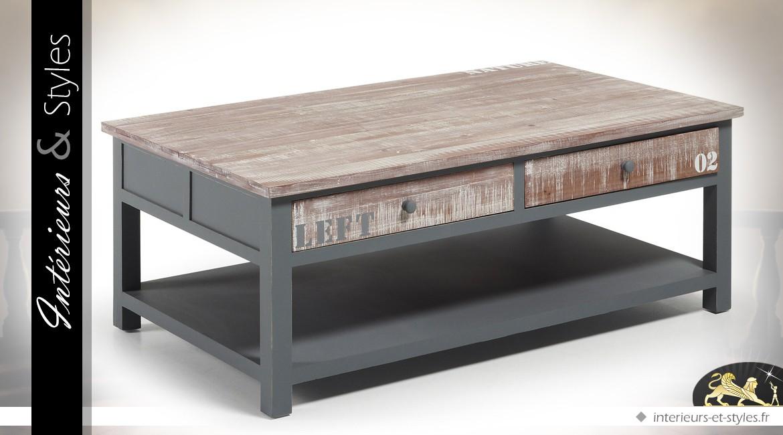 Table basse rétro et indus à tiroirs patine gris et bois naturel