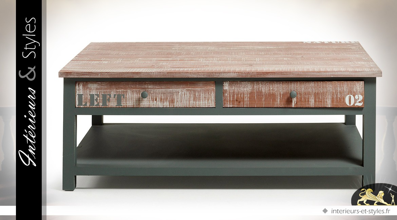 Table basse rétro et indus à 4 tiroirs patine gris et bois naturel