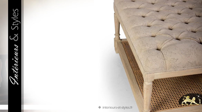 Table basse chic en bois massif et lin grège et camaïeu