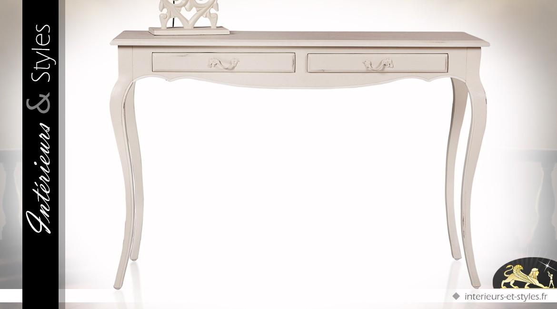 Console de style classique en acajou massif patine ivoire