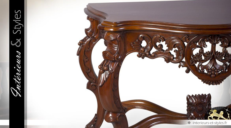 Console de style baroque en acajou massif teinte nogal
