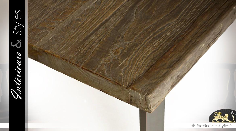 Table de salle à manger de style indus en bois massif et métal