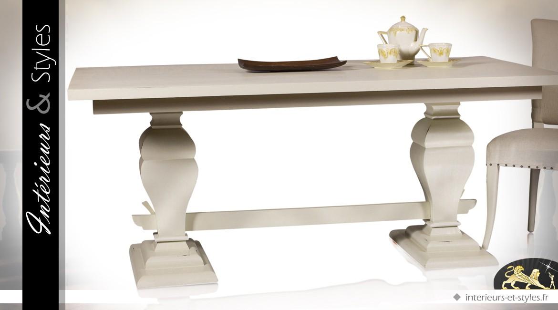 manger salle bois ivoire Table à à patine balustres massif XZTiPkOu