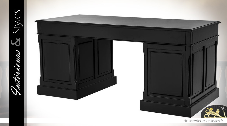 Grand bureau noir et argent 6 tiroirs et 1 porte intérieurs & styles