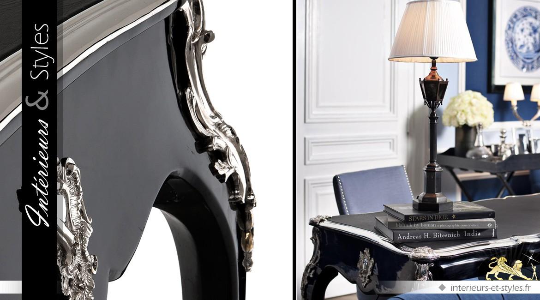 Bureau de style louis xv patine noir brillant et métal argenté