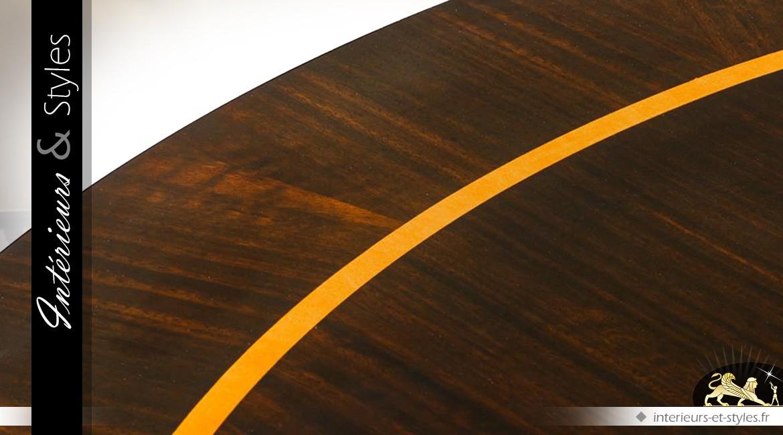Table basse ronde design en acajou massif et eucalyptus