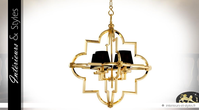 Lustre design en laiton doré à 4 points lumineux