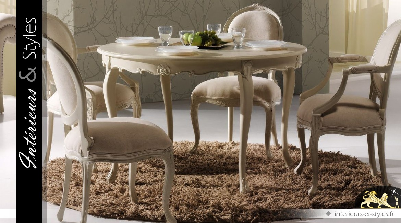 Table ovale extensible de salle manger patine ivoire vieilli int rieurs styles - Table salle a manger ovale extensible ...