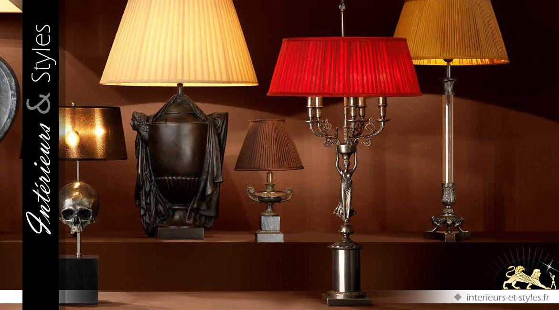 Lampe Déesse ailée 5 feux abat jour soie rouge plisée 95 cm