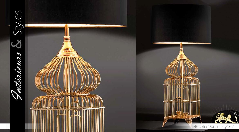 Lampe en laiton doré poli cage à oiseaux avec abat jour noir