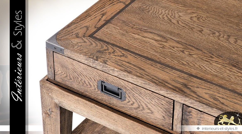 Table basse style indus en chêne massif oxydé et zinc vieilli