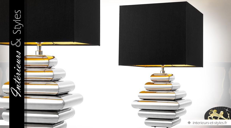 Lampe Design En Laiton Finition Argent Avec Abat Jour Noir Intense