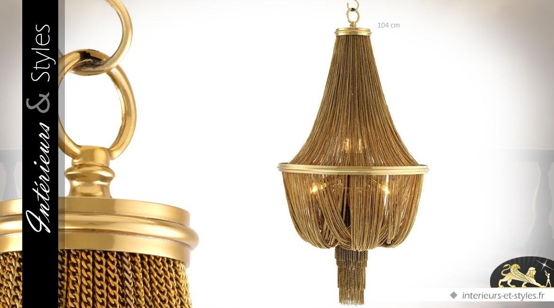 Lustre luxueux de style ancien habillé de chaînes dorées 104 cm